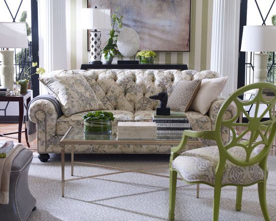 Room · Decorating Room Ideas With Nice Interior Designs: Traditional Living  Room Ethan Allen Design Floral Sofa