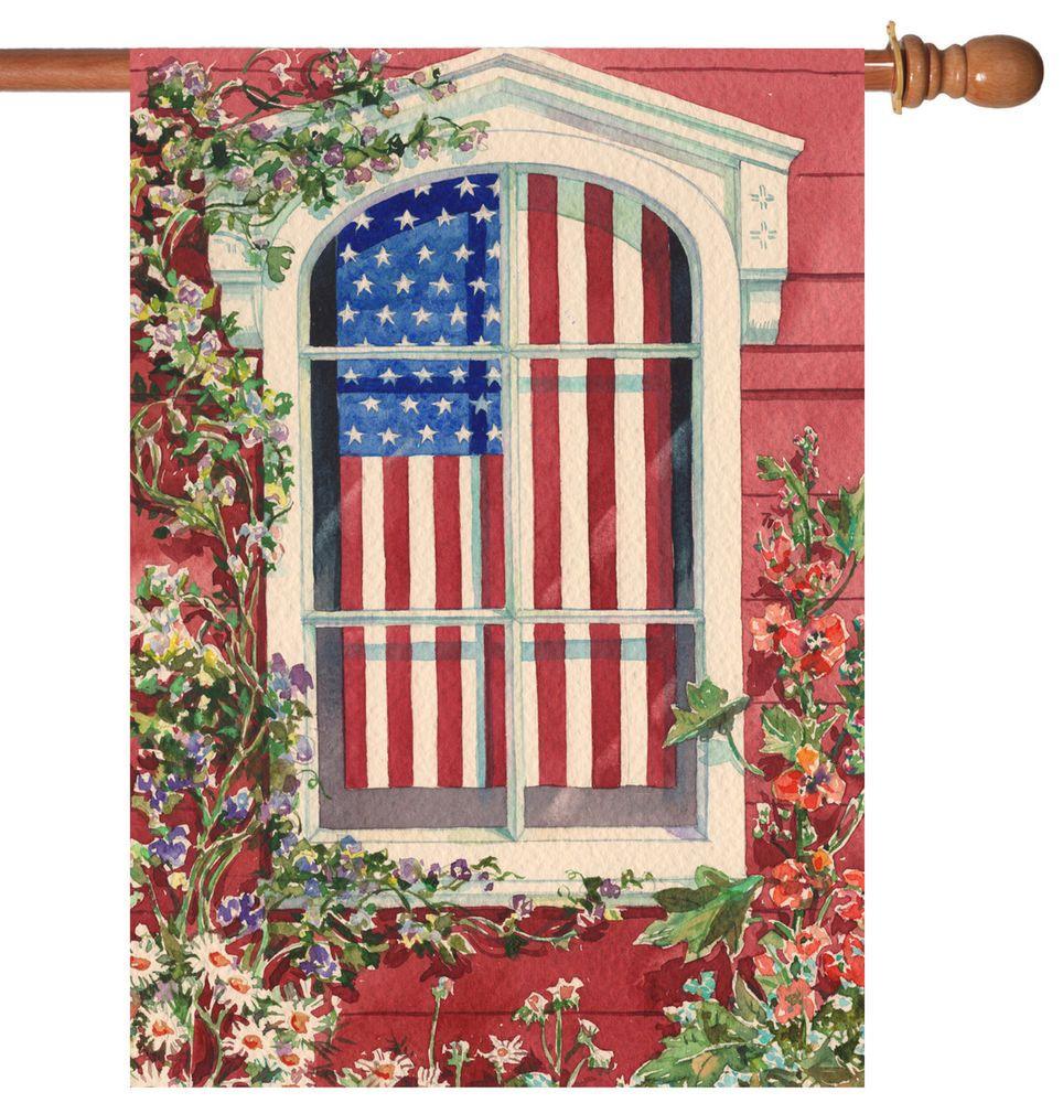 NEW Toland - Star Spangled Window - Patriotic USA Stars Stripes House Flag #TolandHomeGarden