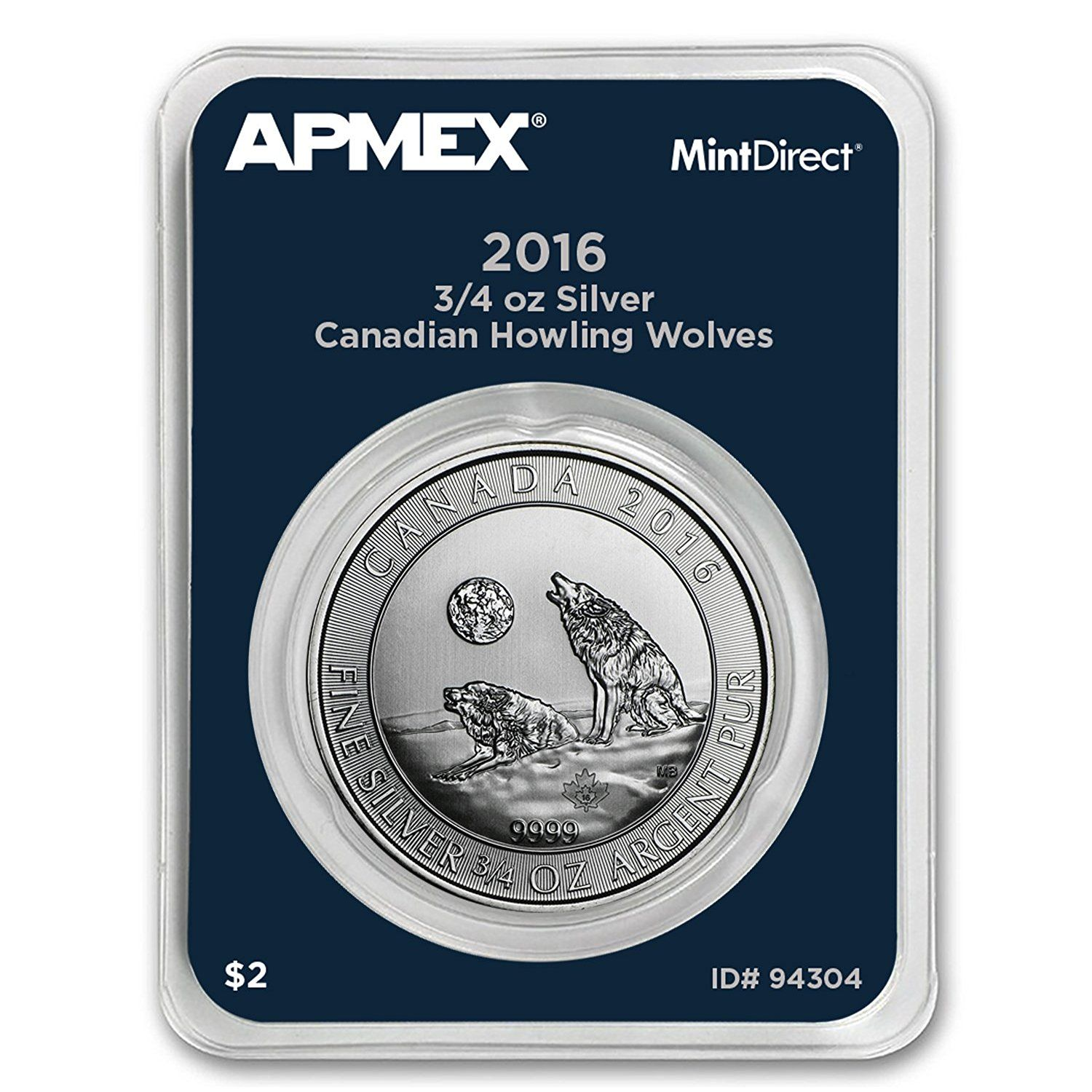 2016 Ca Canada 3 4 Oz Silver Howling Wolves Apmex Mintdirecta Single Silver Brilliant Uncirculated Collectiblecoins Apmex Silver Coins For Sale