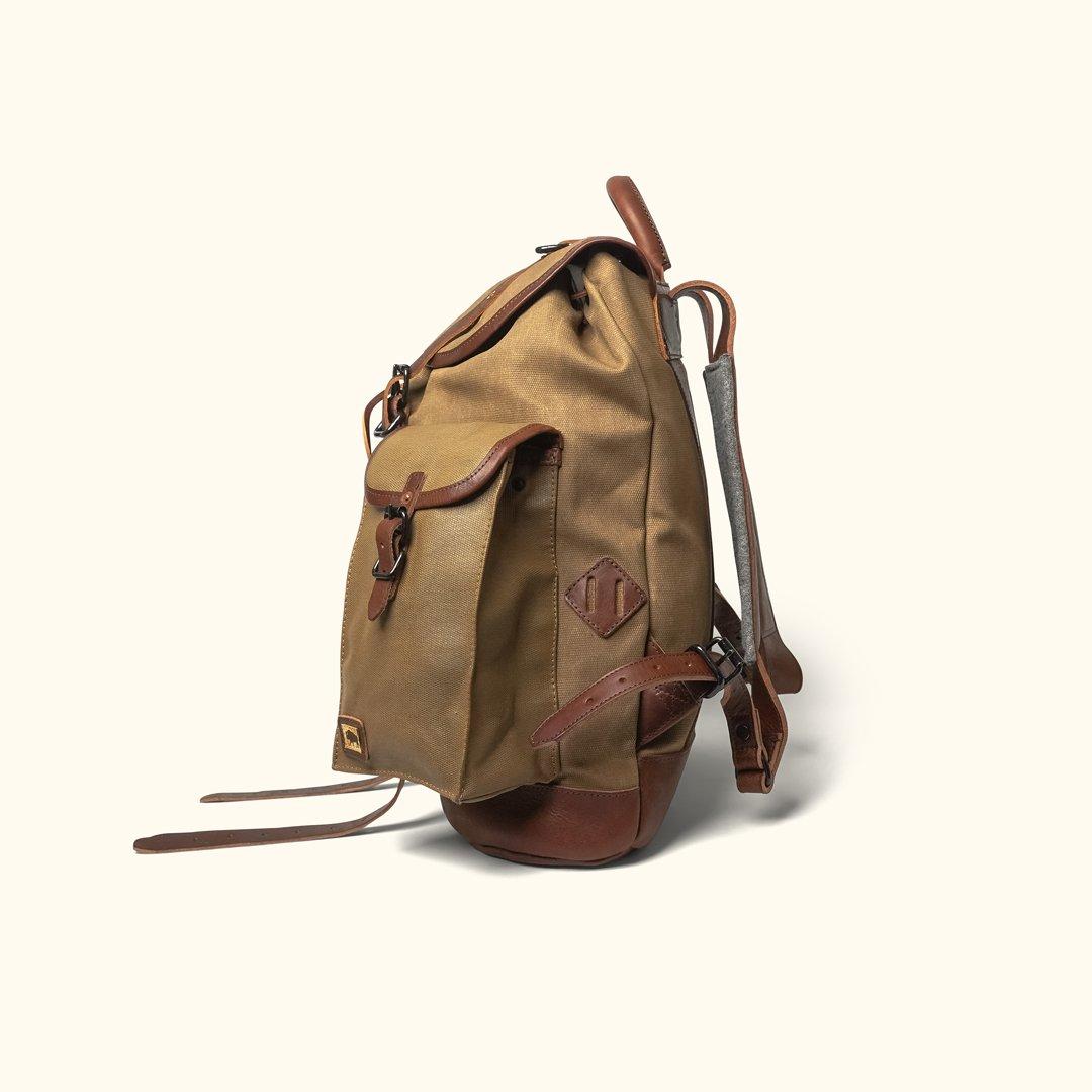 Dakota Waxed Canvas Rucksack Field Khaki W Chestnut Brown Leather