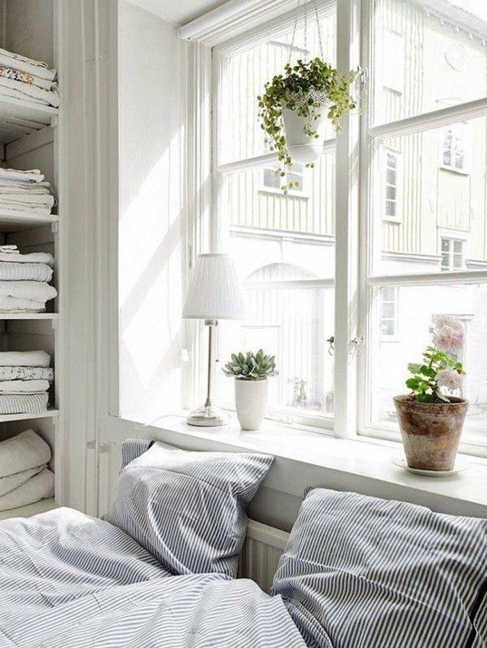 Attractive Windowsill Decoration Bedroom Plant Bed Linen Striped Pattern   Cozy  Retreat   Pinterest   Bedroom Plants, Bed Linen And Decoration