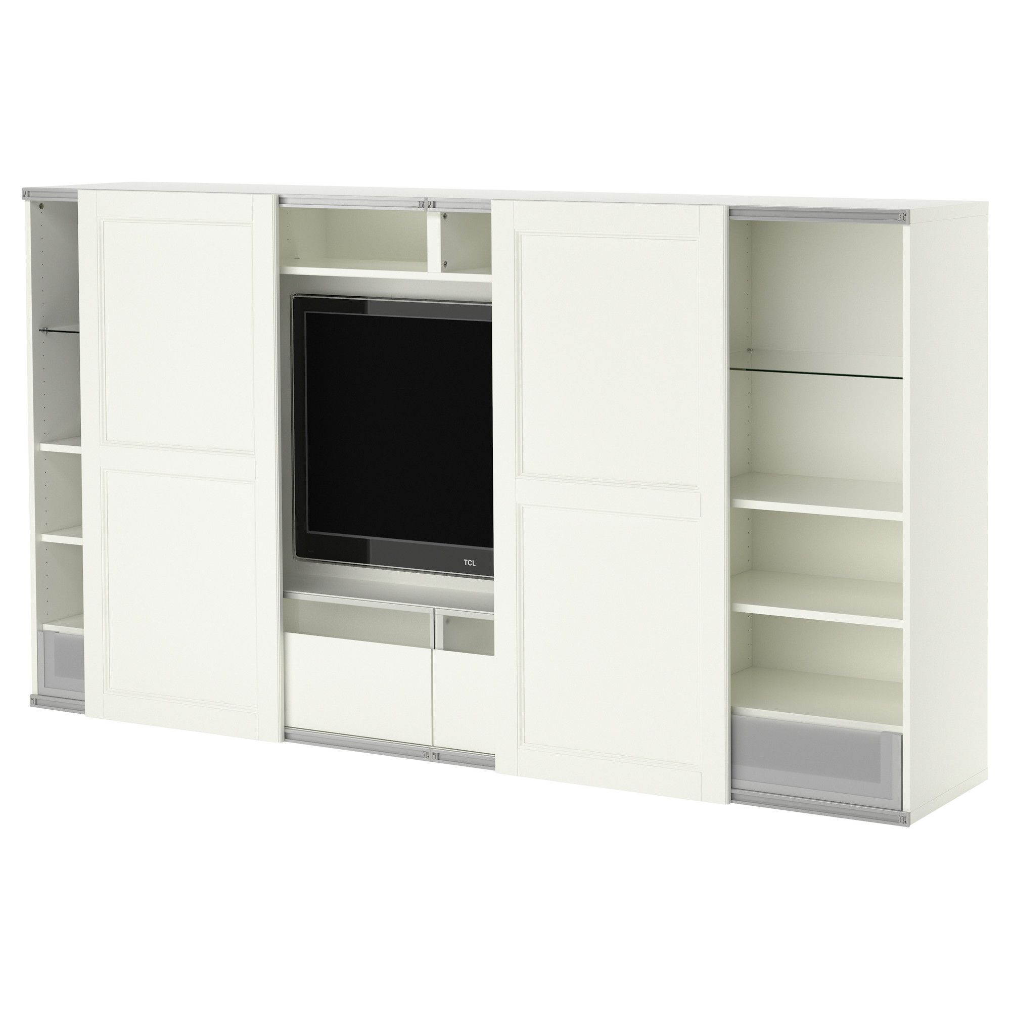 best tv storage combo with sliding doors ikea home ideas pinterest wohnzimmer. Black Bedroom Furniture Sets. Home Design Ideas