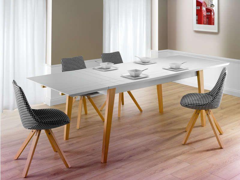 Table Rectangulaire Avec Allonge 250 Cm London Coloris Blanc Vente De Table Conforama Table A Manger Extensible Table Extensible Table Salle A Manger