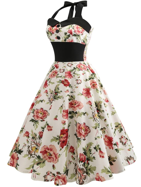 5abde2ebbb Retro Halter Floral Print Pin Up Dress - BEIGE M