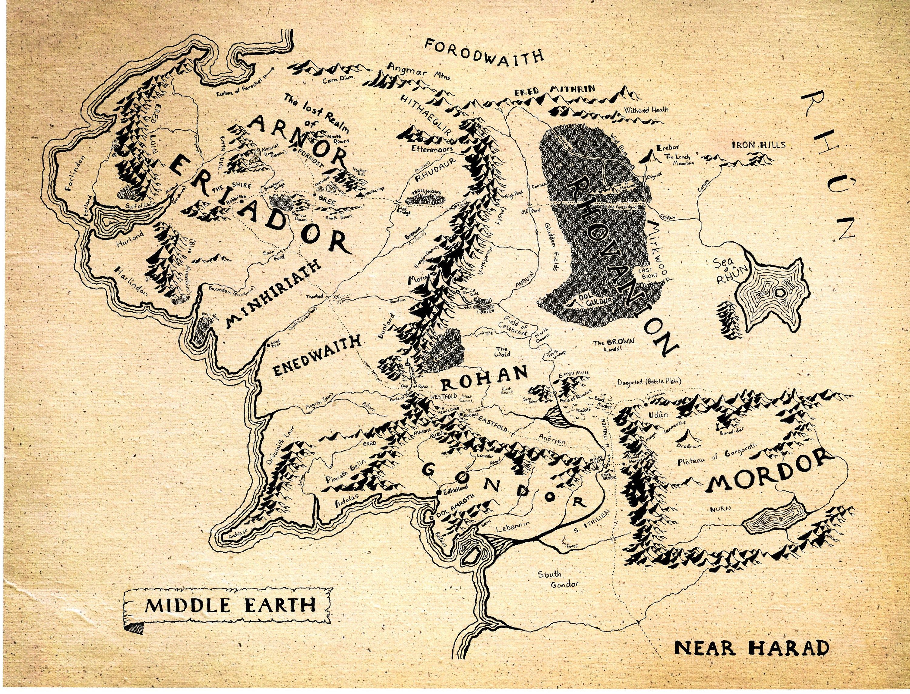 middle earth map game room decor