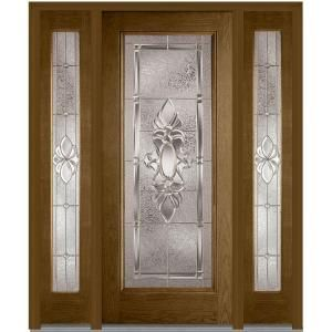 Milliken Millwork 64.5 in. x 81.75 in. Heirloom Master Decorative Glass Full Lite Finished Fiberglass Oak Exterior Door with Sidelites Z003014L at The Home Depot - Mobile