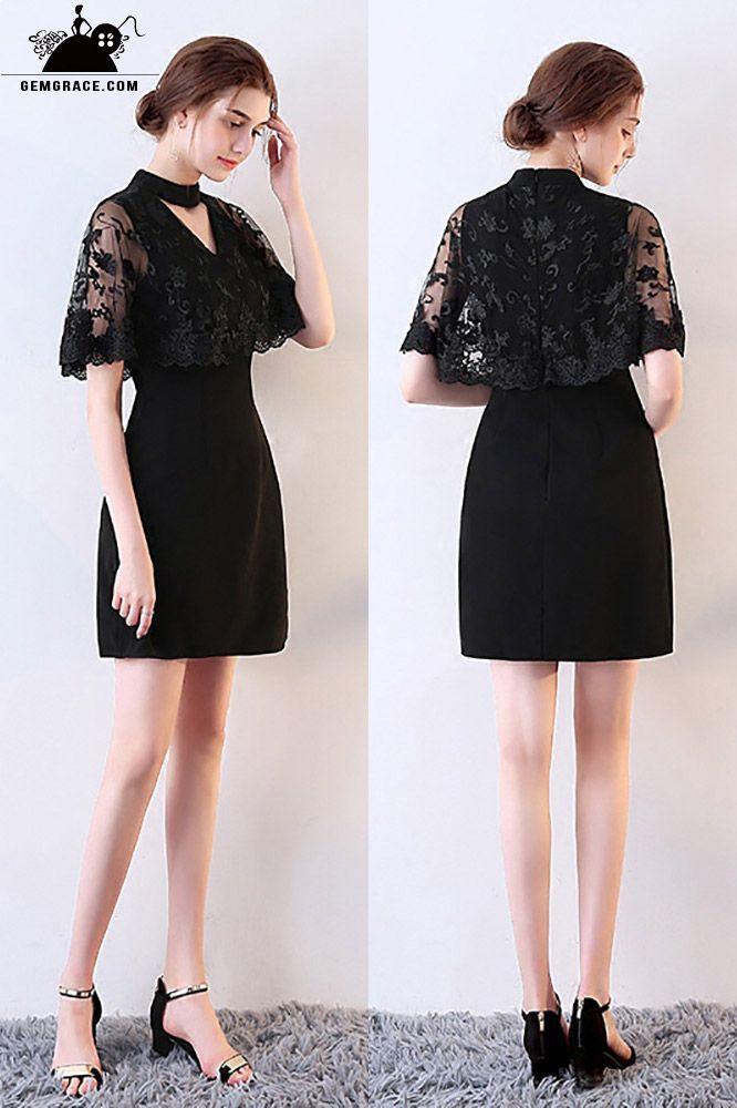 Little Black Lace Cocktail Party Dress with Cape #MXL86019 ...