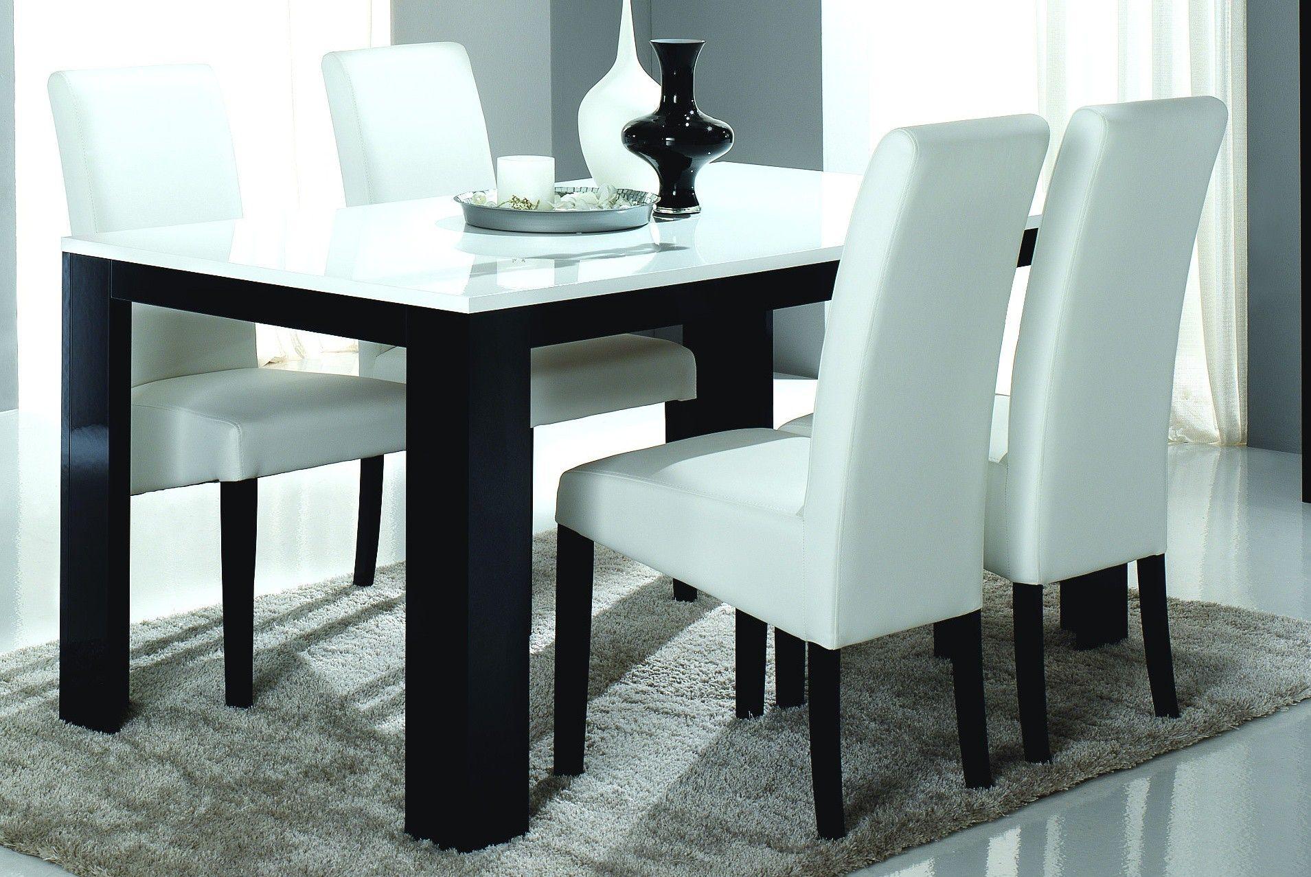 Table de salle à manger design laquée noire et blanche Dali http ...