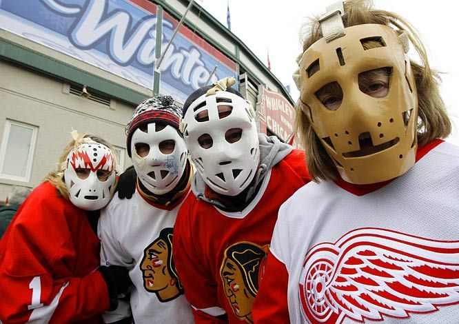 Hockey Fans During The Winter Classic Game Wearing Vintage Goalie Masks Sawchuk Esposito Goalie Mast Winter Nhl Winter Classic Goalie Mask Hockey Pictures