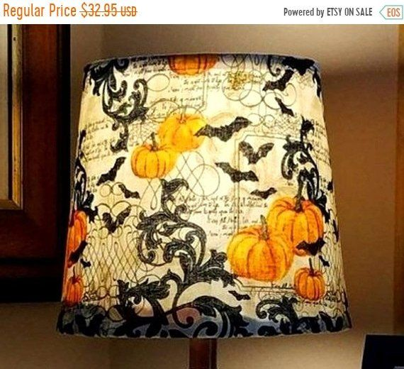 Halloween lamp shades, halloween decor, fabric Lampshade, wrapped