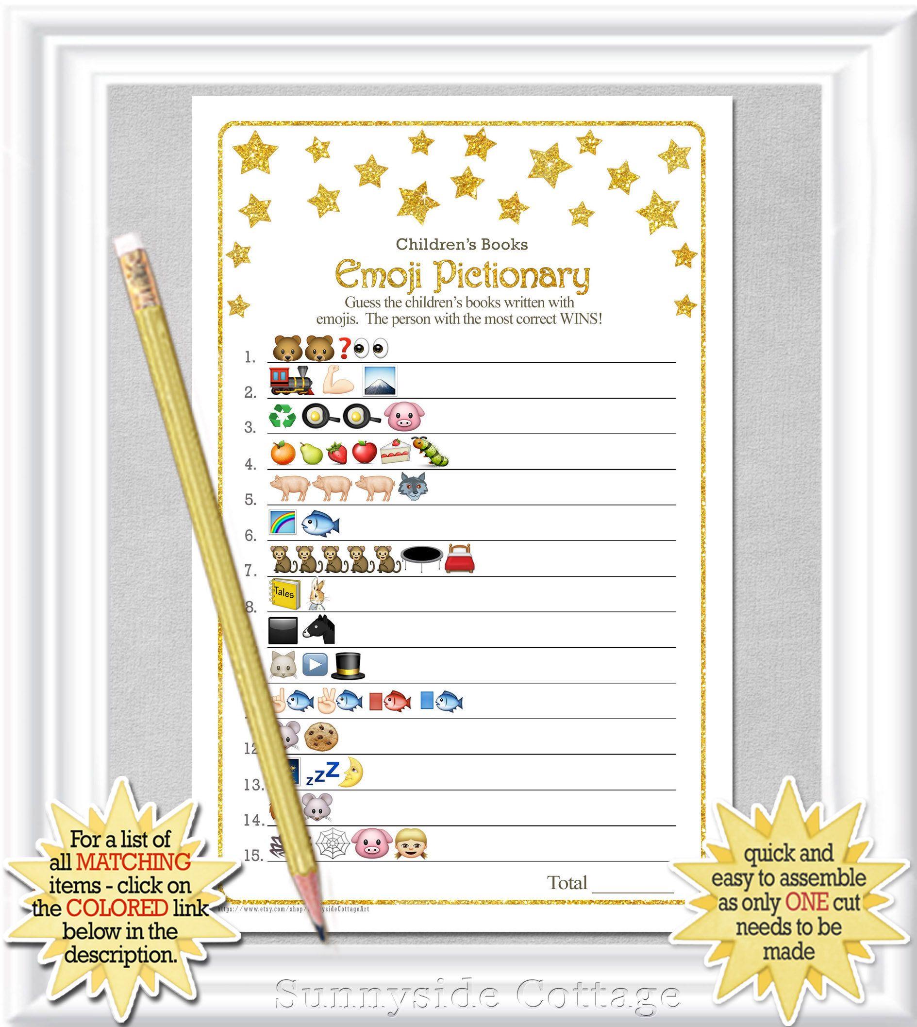 Childrens Books Emoji Pictionary Game Baby Shower Game