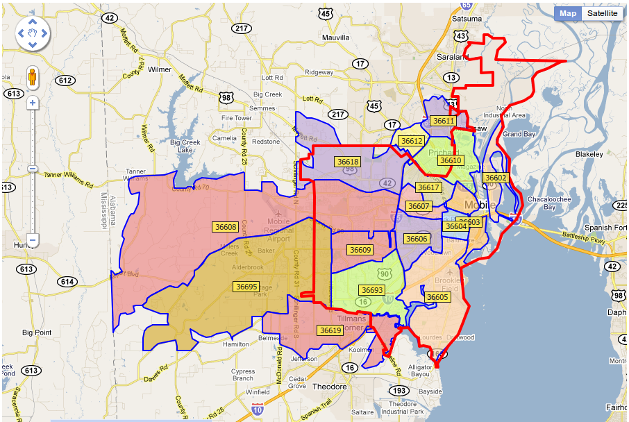 Mobile Alabama Zip Code Map | Zip Code MAP