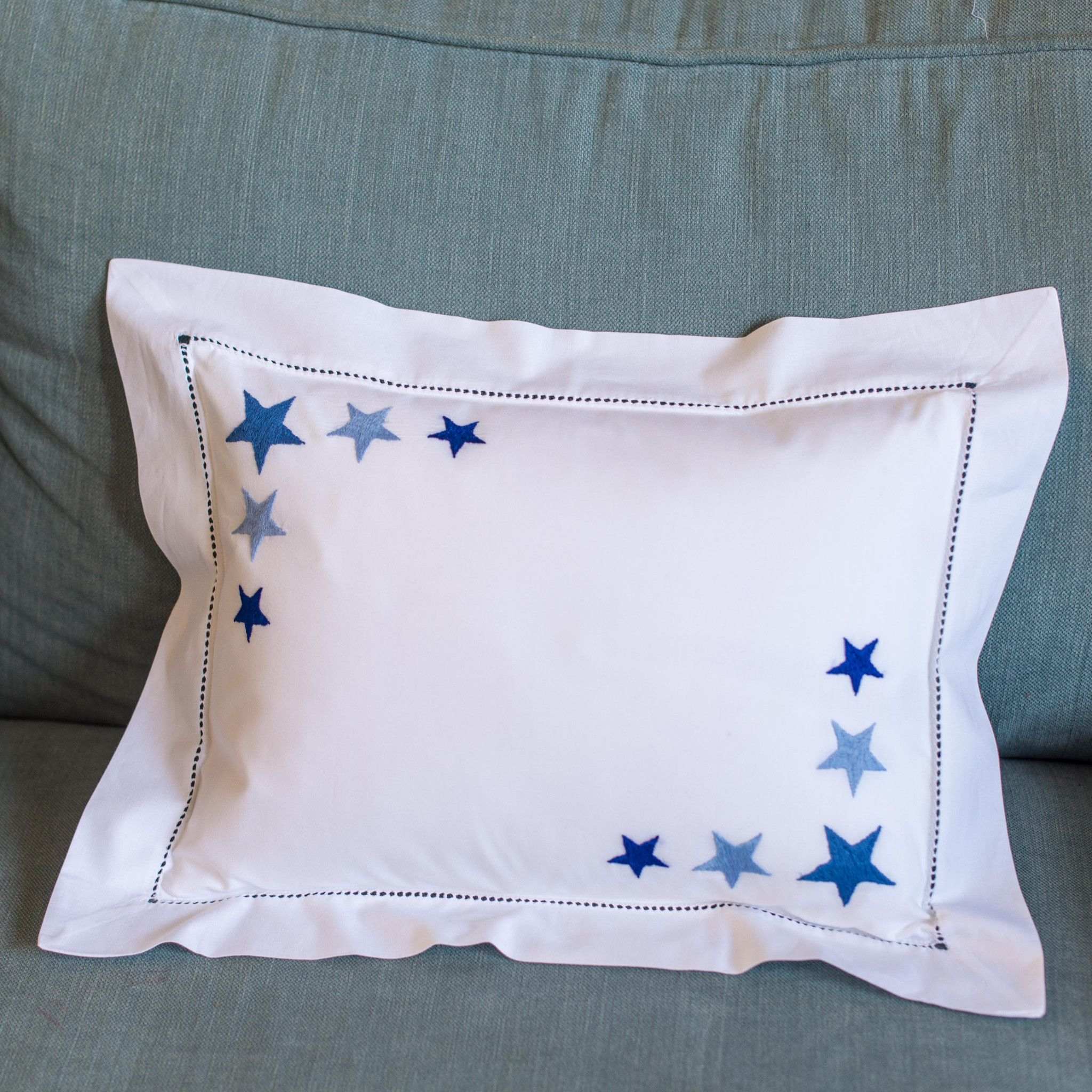 NEW baby pillowcase with hand embroidered star cluster in two corners.Also available in pink. 30cm x 40cm 100% cotton, 200...