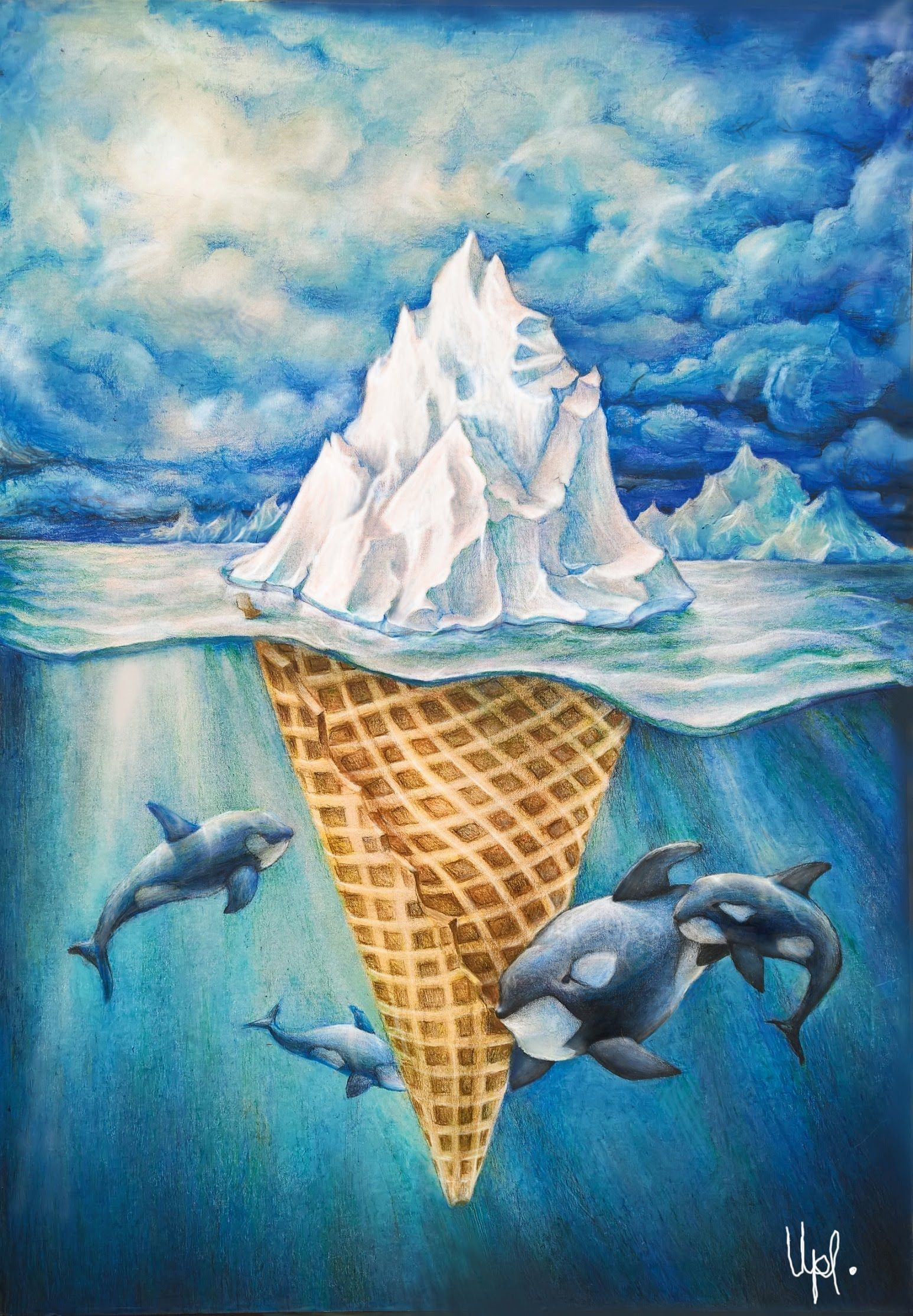 Easy Surrealism Drawings Speed Drawing Ice Cream In Arctic