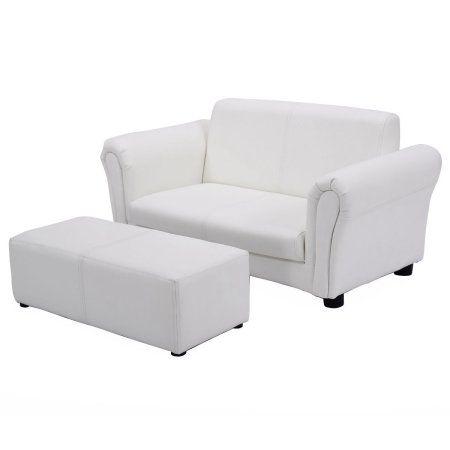 Costway White Kids Sofa Armrest Chair Couch Lounge Children Birthday Gift W Ottoman Walmart Com In 2020 Kids Sofa Kids Couch Upholstered Couch