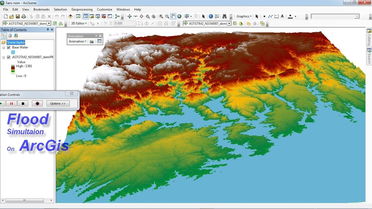 Simultation Flood On Arcgis Flood Spatial Analysis Remote Sensing