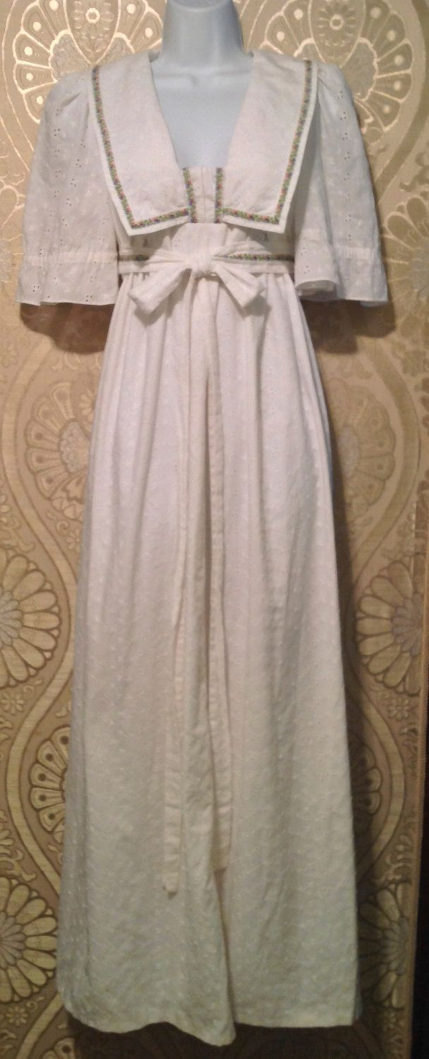 Vintage Eyelet Maxi Dress / Empire Waist / by CoconutGrooveVintage, $69.99