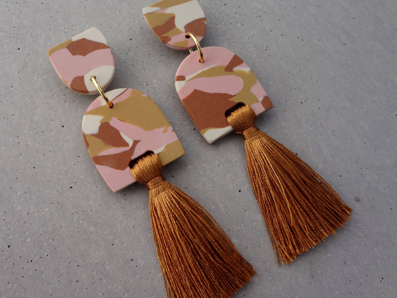 terrazzo earring Google Search Polymer clay earrings