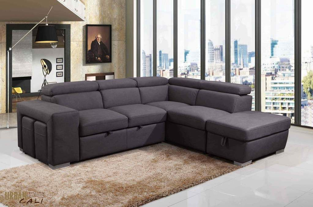 Pasadena Large Sleeper Sectional Sofa Bed with Storage Ottoman and 2 ...