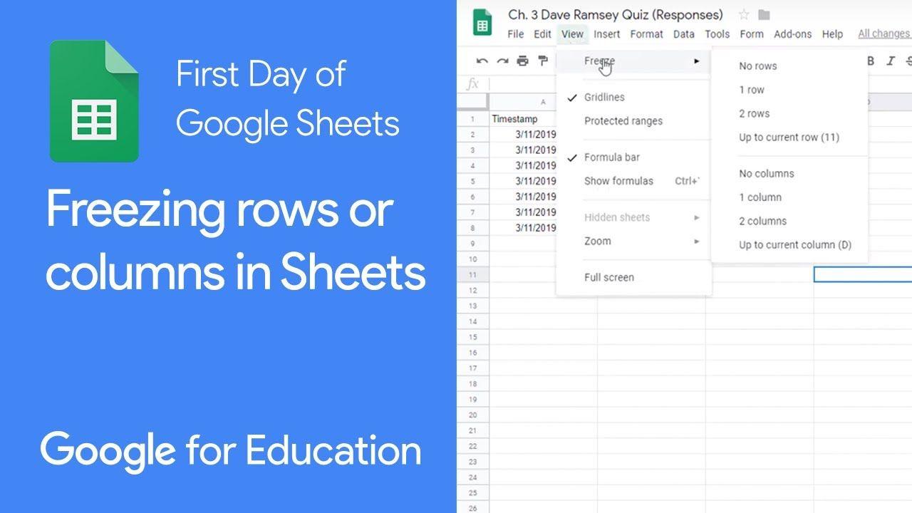 Google Sheets Freeze Rows And Columns Google Sheets Column Computer Skills