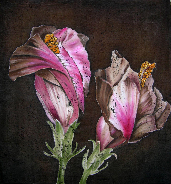 Flowers On Brown Original Silk Painting Batik Art Flowers On Silk