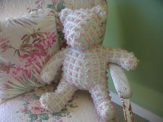 Vintage Rosebud Chenille Teddy Bear Oh So by MyVintageAddiction, $48.00