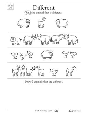 Worksheet Prek Math Worksheets 1000 images about alikedifferent on pinterest preschool printable math worksheets and worksheets