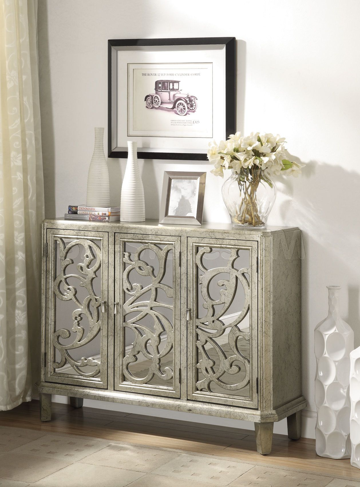 mirrored accent cabinet  antique silver  entrance statement  - mirrored accent cabinet  antique silver