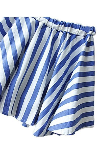 d961ceae3b Casual blue and white striped mini skirt has gathered waist and full skirt.  The unusual