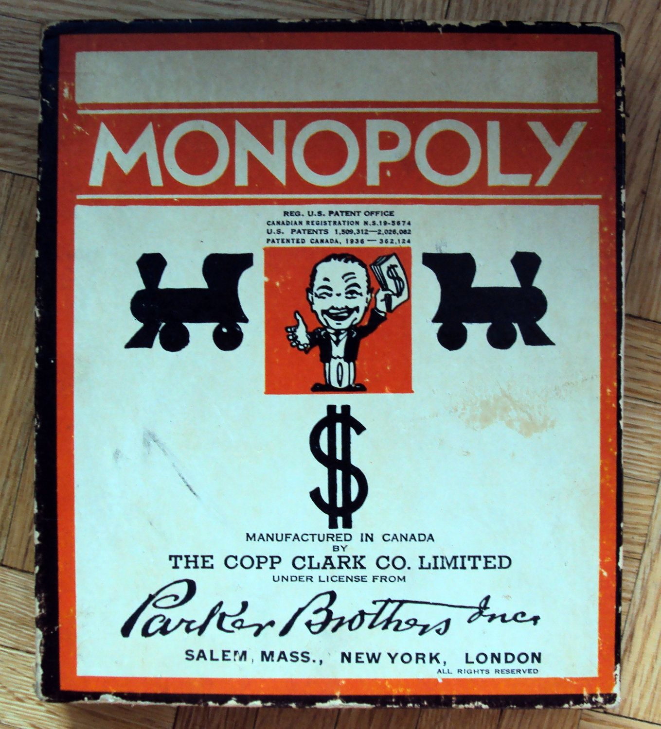 Antique monopoly game 1936 first canadian edition by copp clark ltd vintage board
