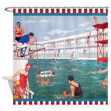 Retro Swimming Pool Shower Curtain By Cafepets With Images Pool Shower Swimming Pools Swimming