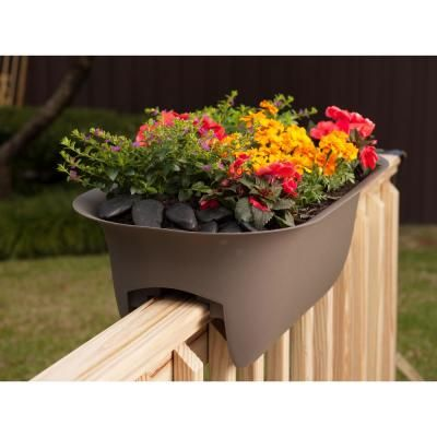Bloem Modica 24 In X 8 75 In Living Green Plastic Deck Rail Planter Mr2442 The Home Depot In 2020 Railing Planters Deck Railing Planters Deck Planters