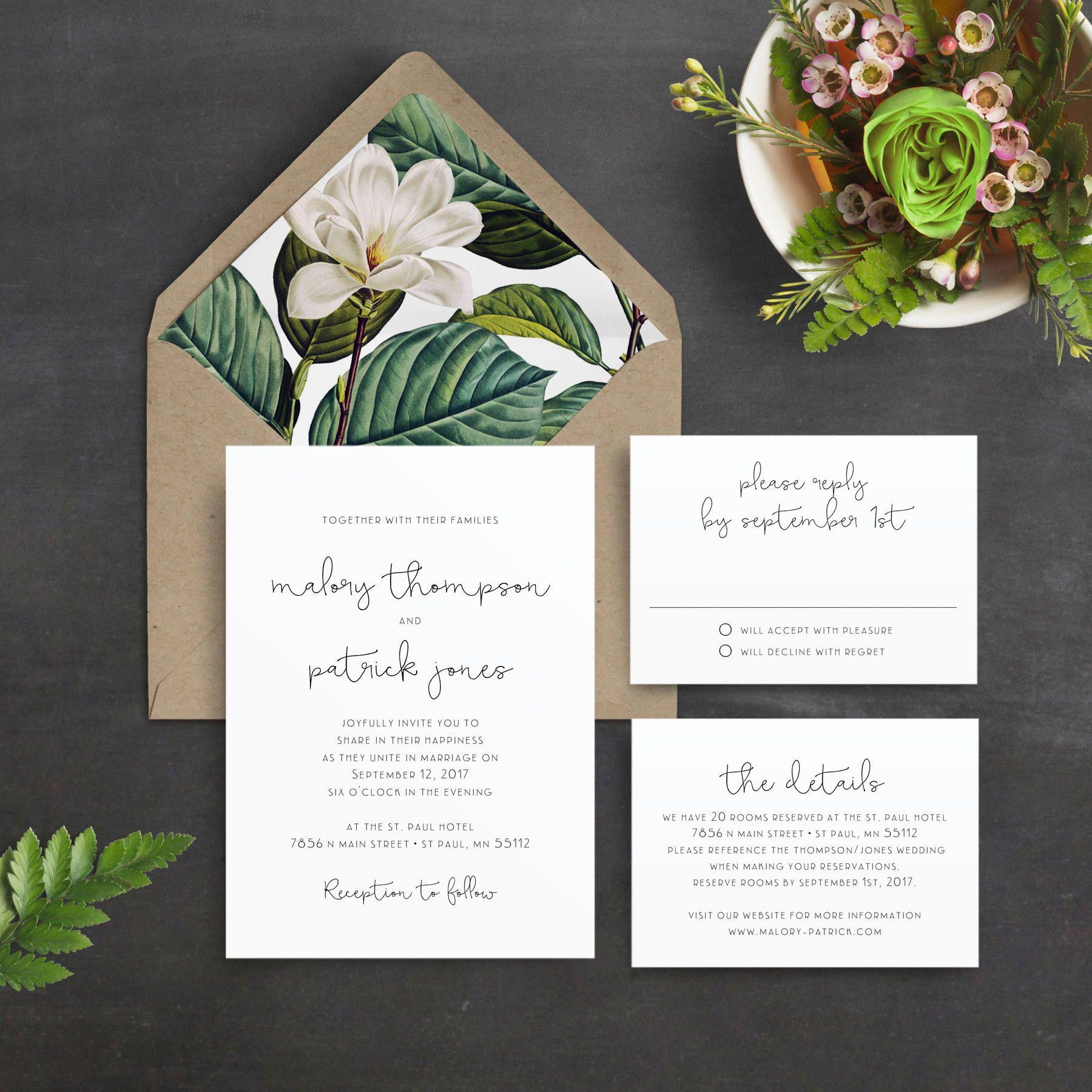 Minimal Wedding Invitation, Green Leaves, Magnolia, Script, Greenery ...