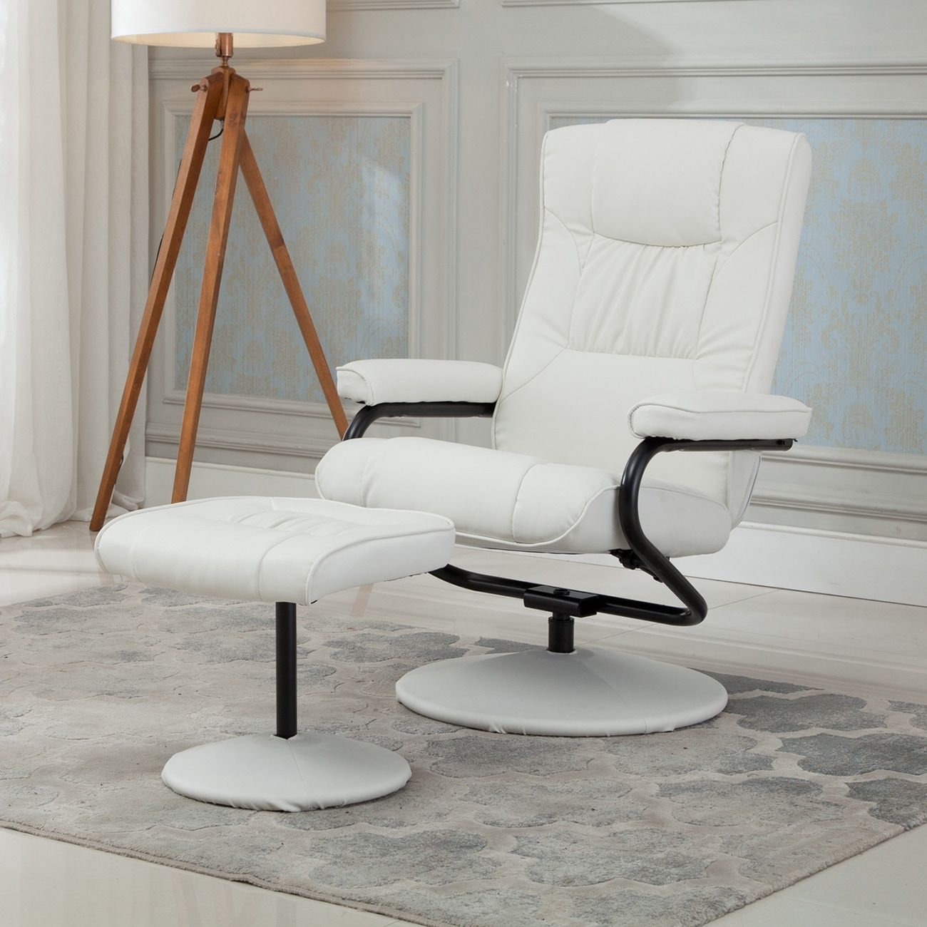 Belleze Premium Leather Recliner and Ottoman Set Reclining Chair ...