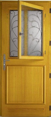 Turmel porte d 39 entr e bois classique mi vitr e porte d 39 entr e porte entree bois portes et - Porte d entree bois lapeyre ...