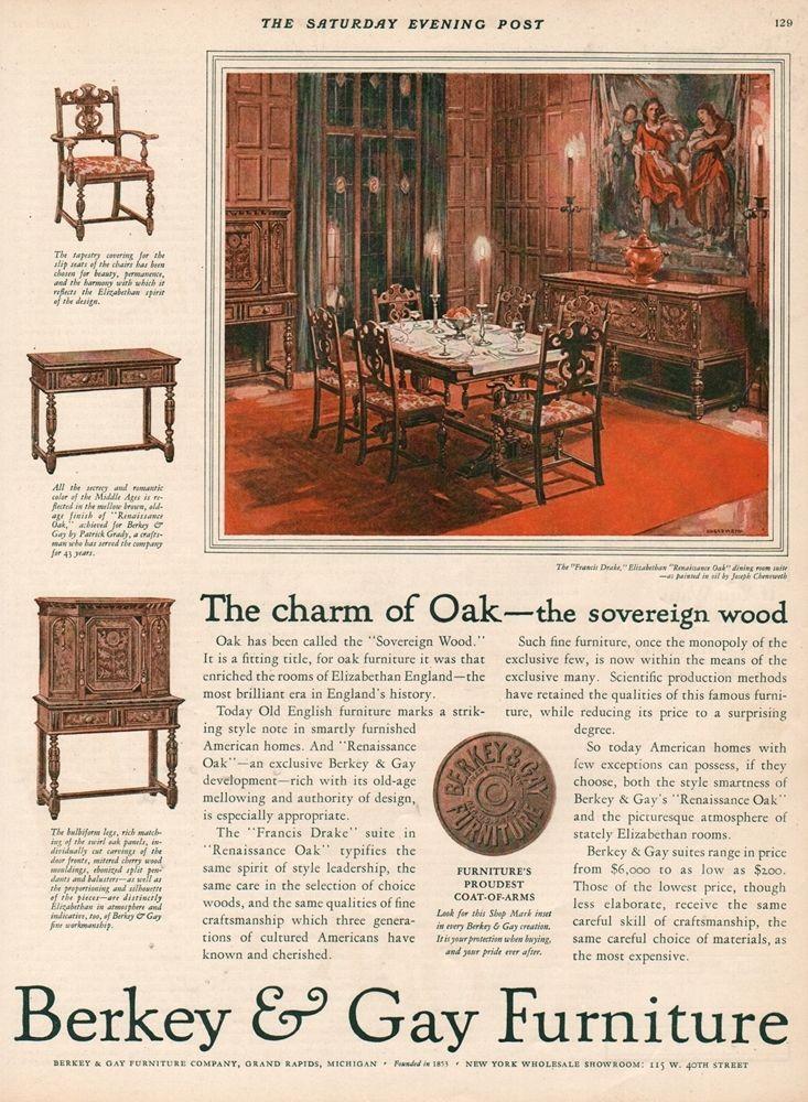 1927 Berkey Gay Furniture Grand Rapids MI Chenoweth Art Dining Room Decor Ad