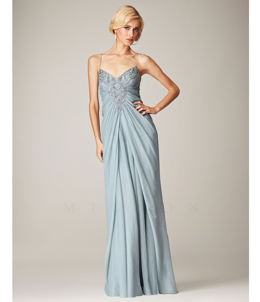Mignon Spring 2014 Dresses - Antique Blue Beaded V-Neck Long Prom ...