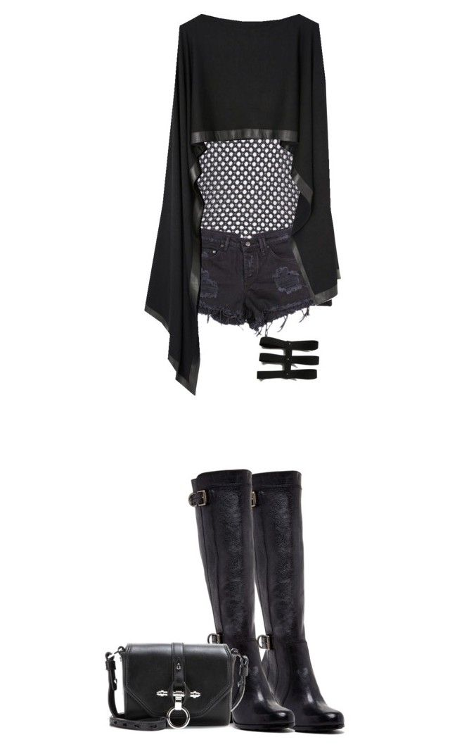 """Untitled 87"" by rovsworld ❤ liked on Polyvore featuring Barbara Bui, Donna Karan, Frye, Givenchy, Dark, Punk, grunge, alternative and VisualKei"