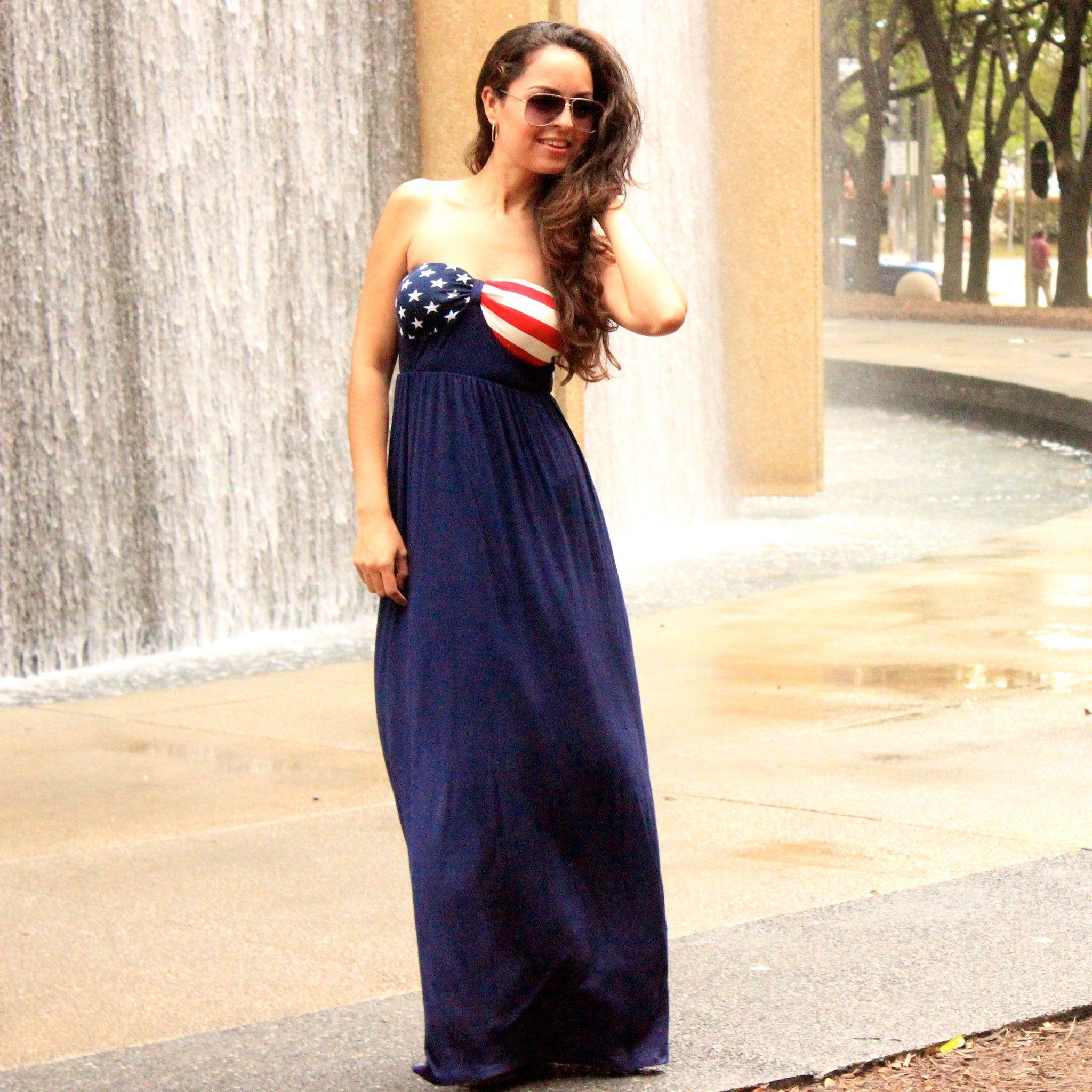 USA American Flag Maxi Dress   American flag, Maxi dresses and Bbq ...