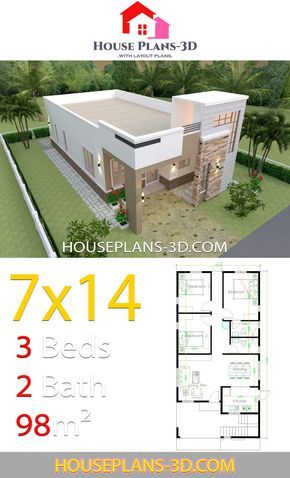 House Design 7x14 With 3 Bedrooms Terrace Roof House Plans 3d Architectural House Plans Home Design Floor Plans Simple House Design