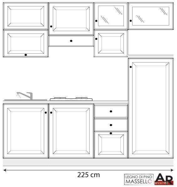 disegna la tua cucina rustica in legno di pino massello e potrai vedere il tuo preventivo