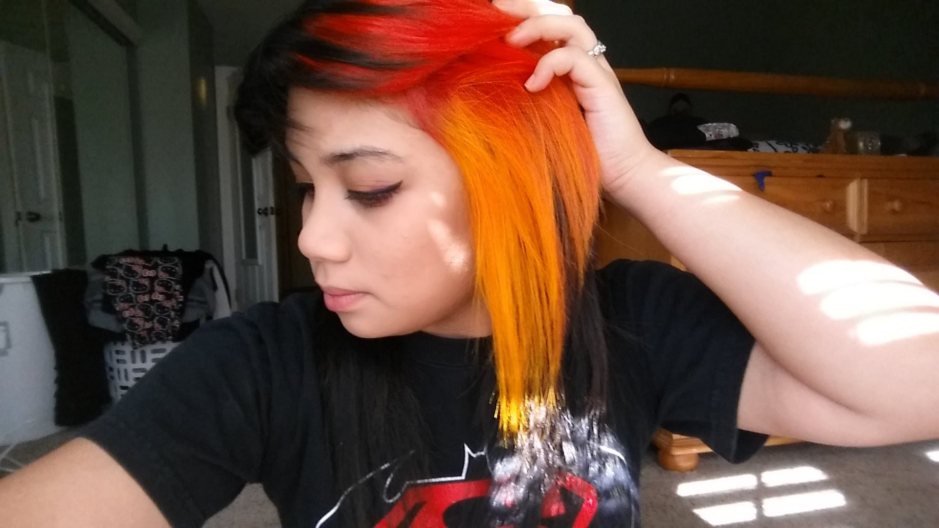 How To Dye Phoenix Fire Hair Red To Yellow Ombre Splat Hair Dye Hair Dye Tutorial Flame Hair