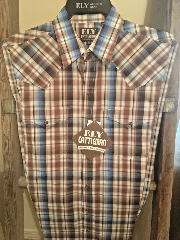 Ely Cattleman Western Shirt 1878 Men/'s Red Plaid 100/% Cotton Shirt Long Sleeve