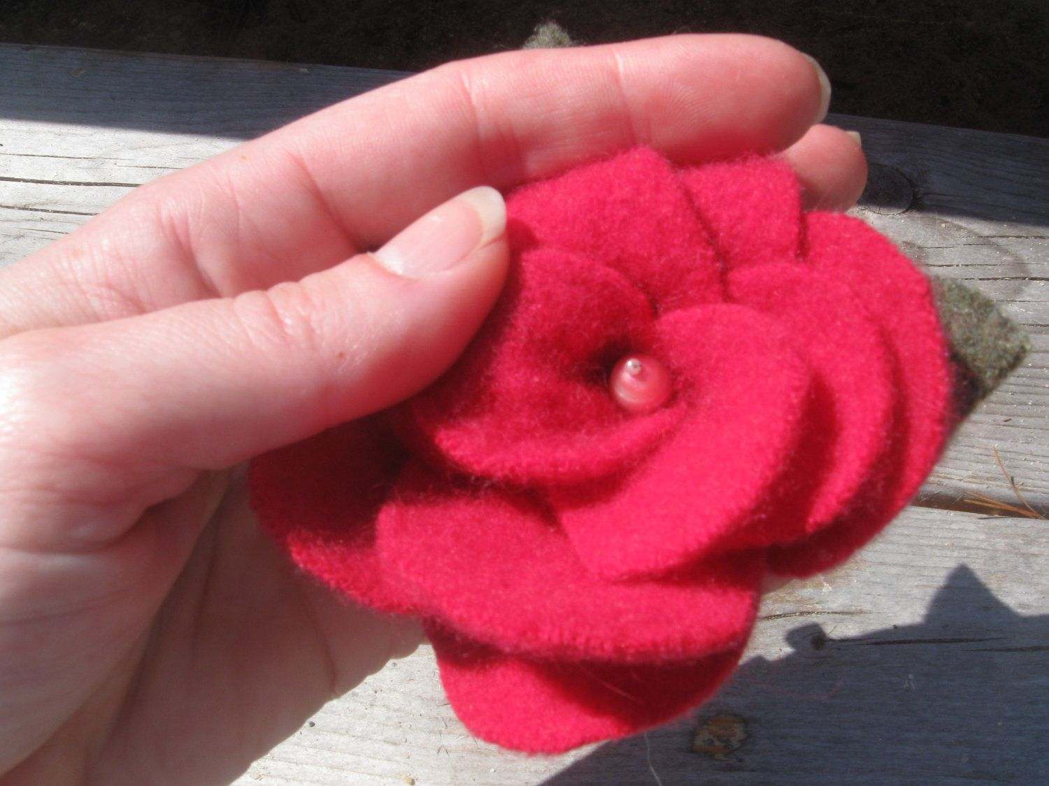Upcycled felted flower brooch by SignsCapeCodDesigns on Etsy, $16.00