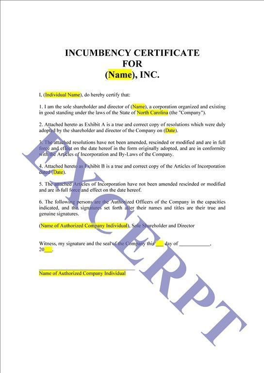 Printable Sample Certificate Of Incumbency Form Laywers Template - free articles of incorporation template