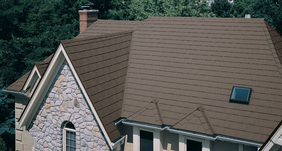 Metalworks Steel Shingles In Astonwood River Rock Brown Shingles Steel New Home Construction House Exterior Building A New Home