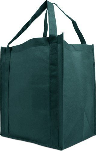 Reusable Reinforced Handle Grocery Tote Bag Large 10 Pack Hunter Green By Simply Solutions