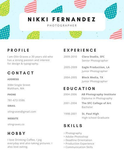 Teal Decorated Rain Drops Creative Resume CV Pinterest Template - photographer resume example