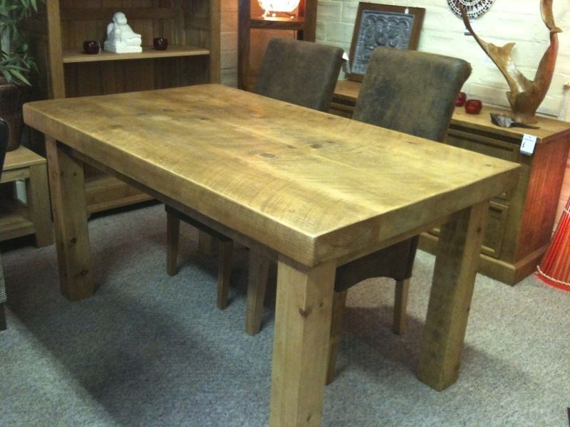 NEW SOLID WOOD DINING TABLE CHUNKY RUSTIC WOODEN PLANK 3 TOP
