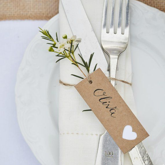 8 Kraft Place Cards, Wedding Place Cards, Rustic Place Cards, Rustic Country Wedding, Wedding Luggage Tags, Wedding Favours